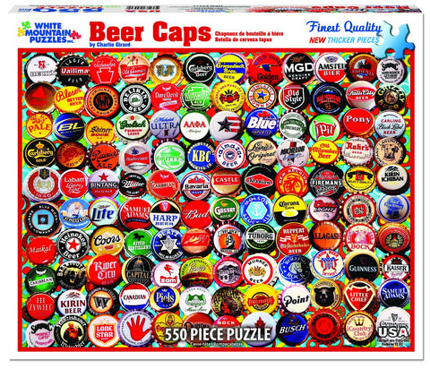 BEER BOTTLE CAPS - 550 Piece Jigsaw Puzzle - Games2Puzzles