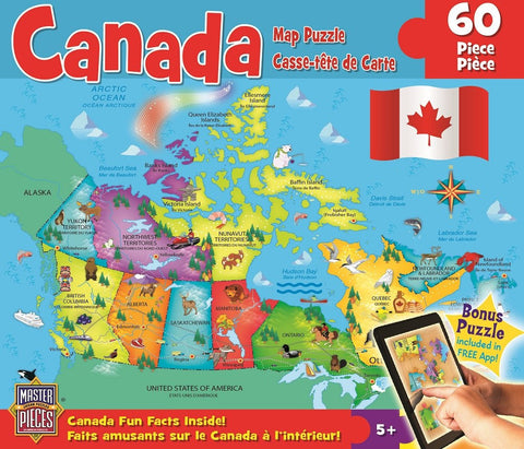 Canada Map - 60 Piece Jigsaw Puzzle