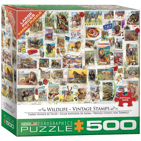 Vintage Stamps - Wildlife - 500 Piece Jigsaw Puzzle