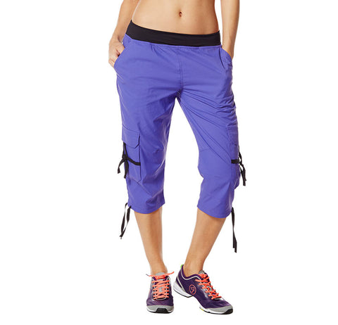 Zumba Fitness Oh-So-Soft Stretch Cargo Capris - Purple Moon