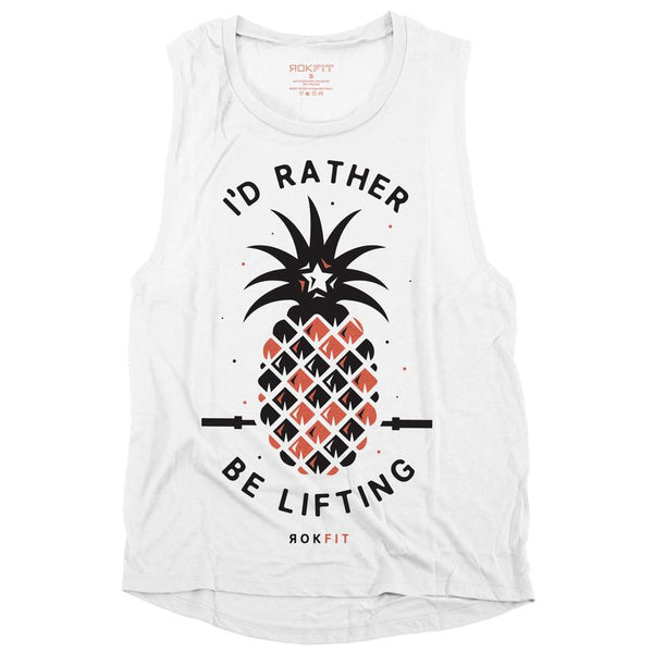 RokFit I'd Rather Be Lifting Muscle Tank - White
