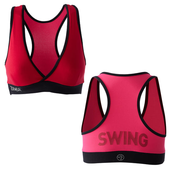 Zumba Fitness Shout Out V-Bra Top - Candy Apple