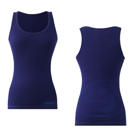 Zumba Fitness Faded Ribbed Tank Top - Navy