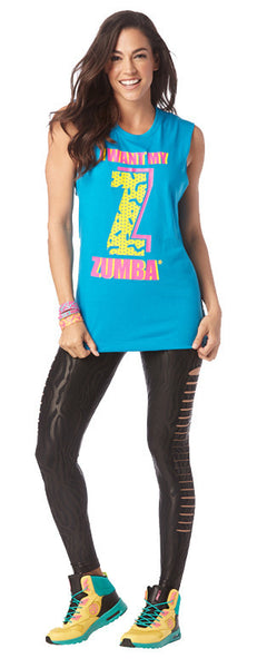 Zumba Fitness I Want My Zumba Muscle Tank - Blue