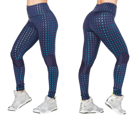 Zumba Fitness Glam High Waist Panel Ankle Leggings - Night Sky