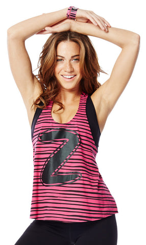 Zumba Fitness Let Loose Striped Racerback - Back to the Fuchsia