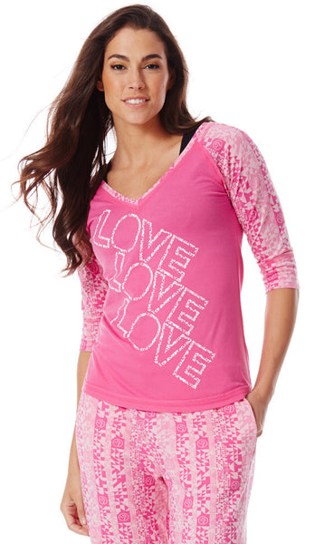 Zumba Fitness Love X3 Zumba V-Neck - Back to the Fuchsia