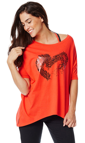 Zumba Fitness Off the Shoulder Tee - Rev Me Up Red