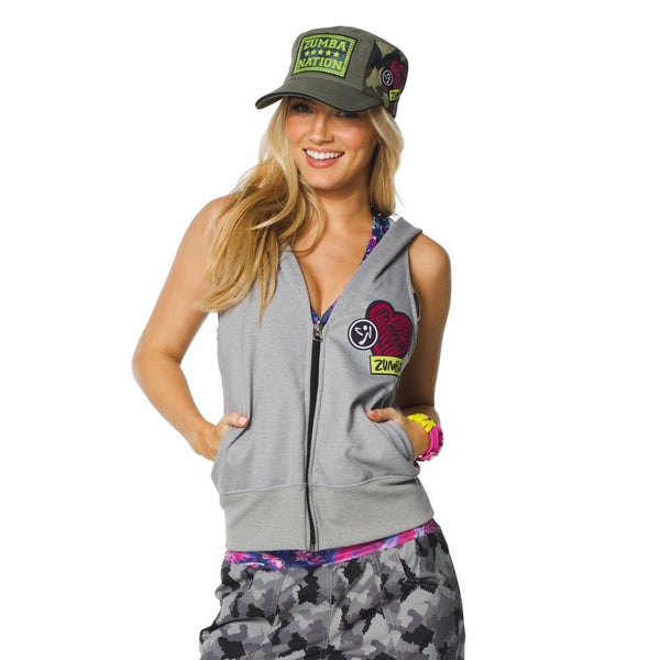 Zumba Fitness Patched Up Sleeveless Hoodie - Thunderin Gray