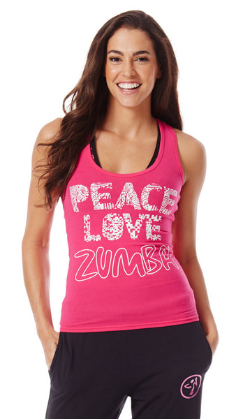 Zumba Fitness Peace Love-N-Racerback - Back to the Fuchsia