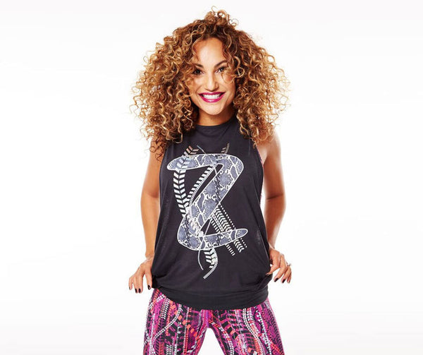 Zumba Fitness Rep My Style Loose Bubble Tank - Back to Black