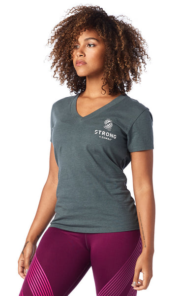Zumba Fitness STRONG By Zumba Instructor V Neck - Dark n Dirty Slate
