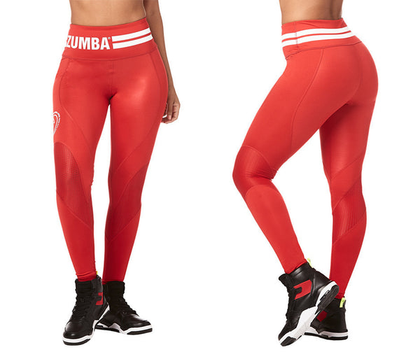 Zumba Fitness Varsity High Waist Ankle Leggings - Viva La Red