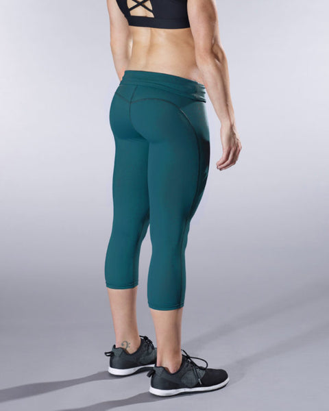 VullSport Essential Fold Over Hug Crop - Dark Teal