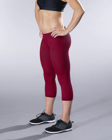 VullSport Essential Fold Over Hug Crop - Maroon