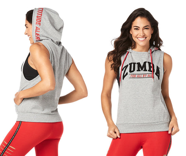 Zumba Fitness Attitude Alert Sleeveless Hoodie - Pebble