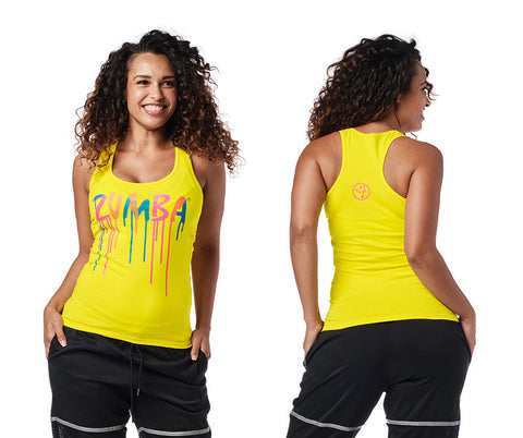 Zumba Fitness Dripping in Zumba Racerback - Mell-Oh Yellow
