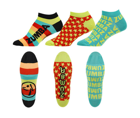 Zumba Fitness Feel Good Dance Good Socks 3 PK