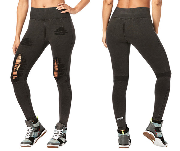 Zumba Fitness High Waisted Seamless Ripped Long Leggings - Bold Black