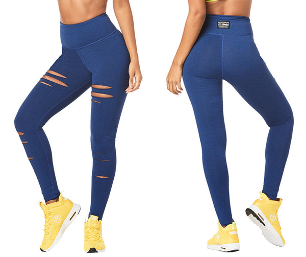 Zumba Fitness High Waisted Slashed Long Leggings - Night Sky