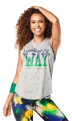 Zumba Fitness Instructor Leading The Way Muscle Tank - Pebble