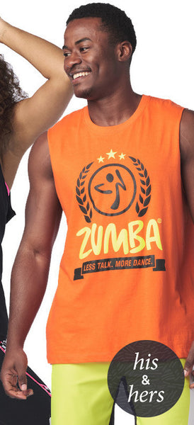 Zumba Fitness Less Talk More Dance Muscle Tank - Orange