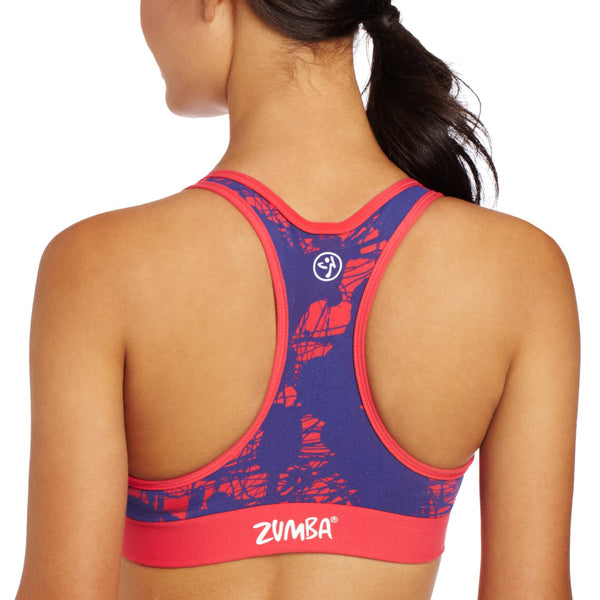 Zumba Fitness Pretty in Print V-Bra Top - Candy Coral (CLOSEOUT)