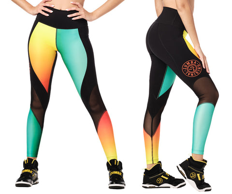 Zumba Fitness Surf High Waisted Panel Leggings - Mell-Oh Yellow