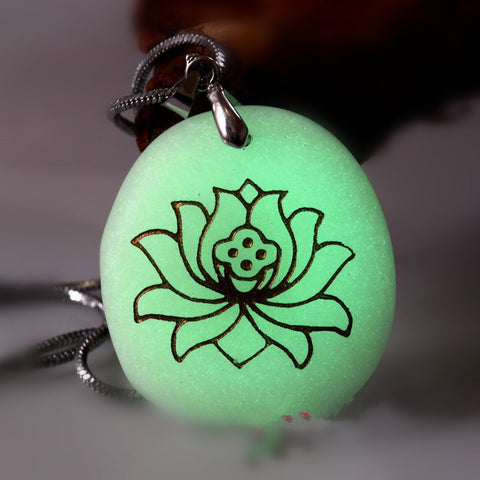 Lotus Necklace - Zen Necklace - Glow In The Dark Necklace - Prayer Religion Meditation - Glowing Stone - Flower Necklace Yoga Jewelry - crystal001 - 1