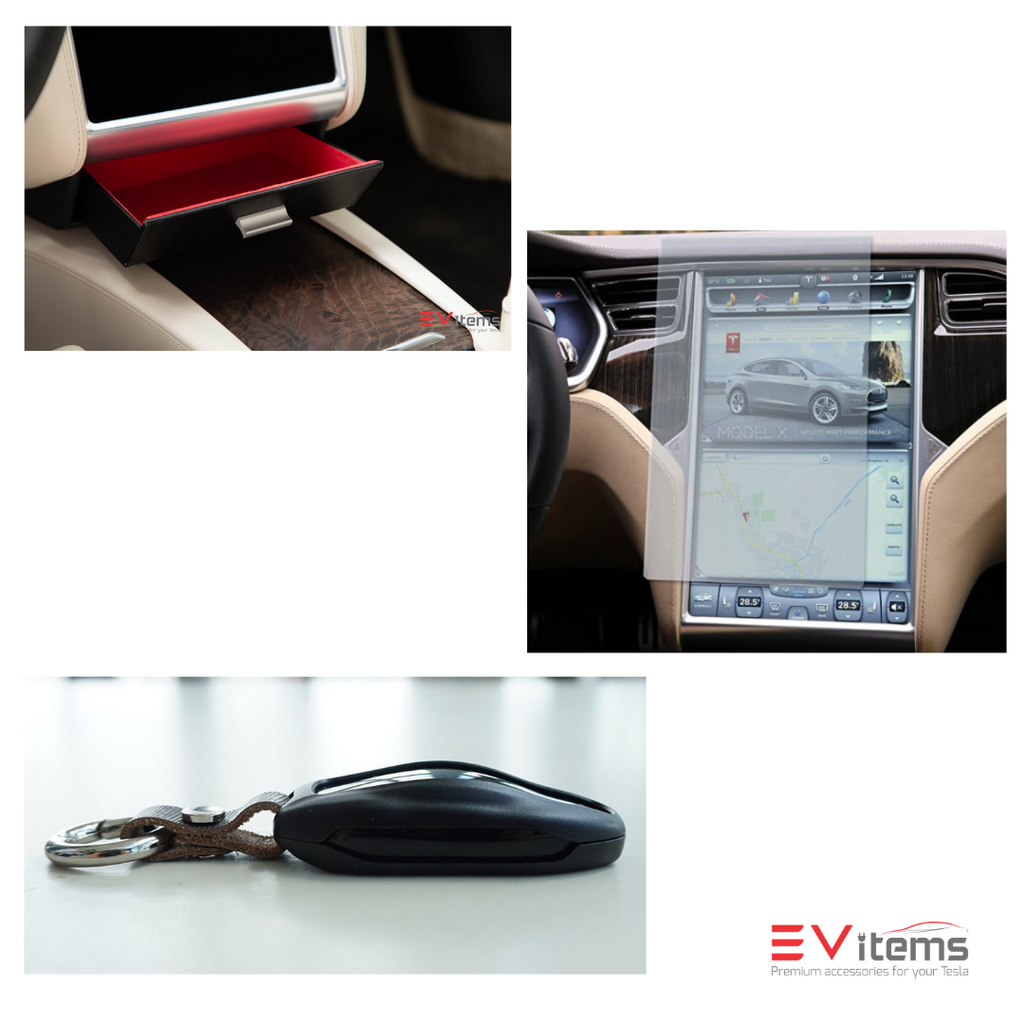 Premium Model X Bundle - Vegan Cubby Drawer, Screen Protector, Aluminum Key Fob