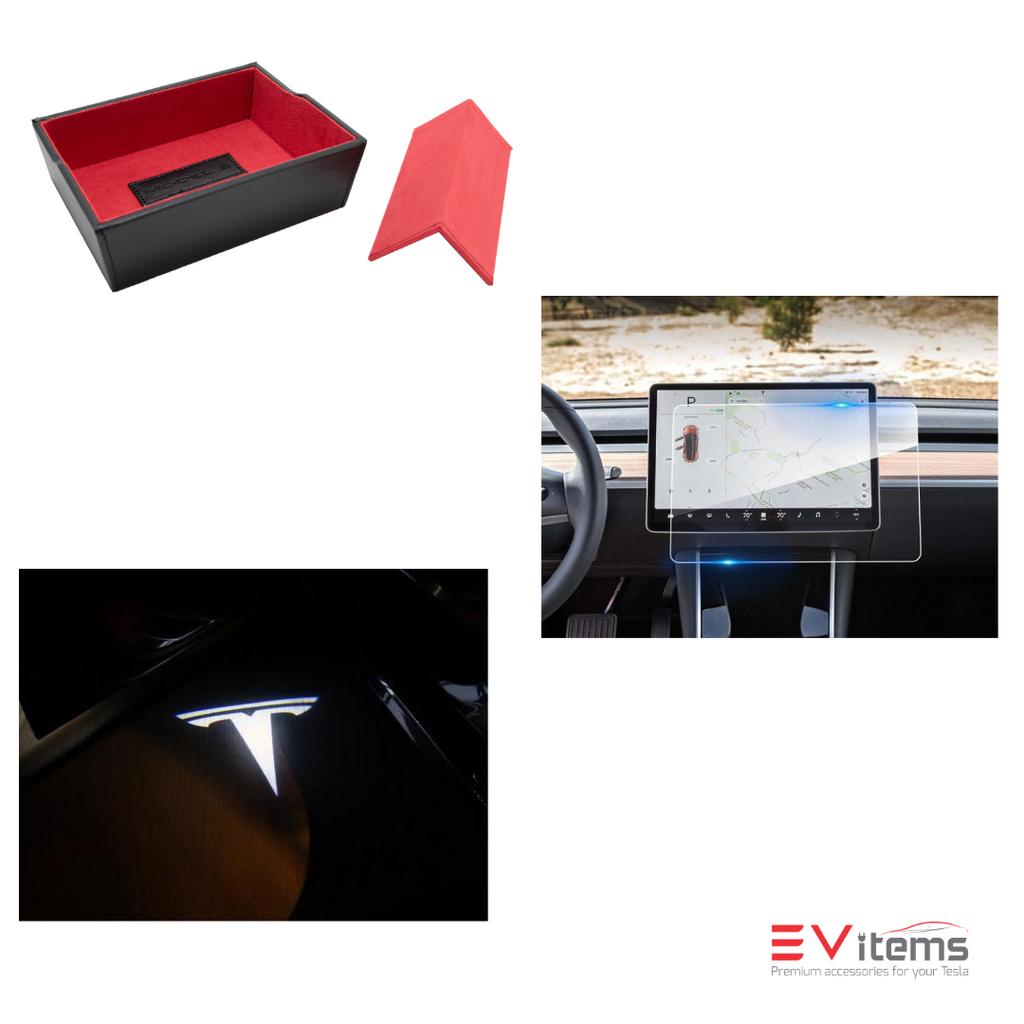 Tesla Model 3 Bundle 1  - Center Console, T-Logo Lights, Screen Protector