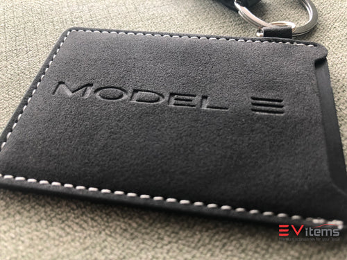 Premium Alcantara Model 3 Key Card Holder Keychain