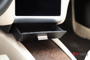 Premium Vegan Tesla Model S & X Cubby Drawer1