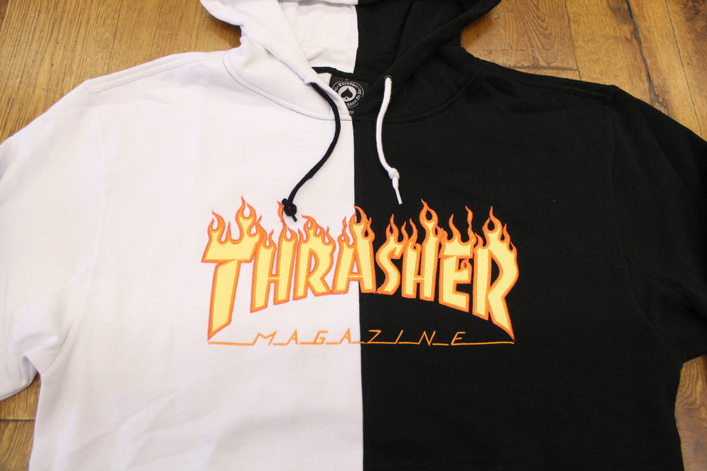 Thrasher Mag Embroidered Flame Split Color Hoodie