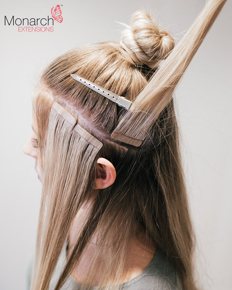 How to place tape hair extensions when creating a top knot bun or monarch extensions top knot tape in method diagonal back section pmusecretfo Choice Image