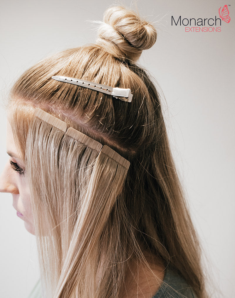 How to place tape hair extensions when creating a top knot bun or monarch extensions top knot tape in method pmusecretfo Images