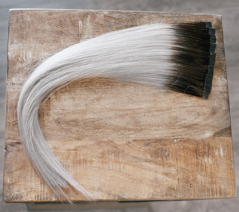 "18"" Tape-In Rooted #2 (Silver Grey/Dark Brown)"
