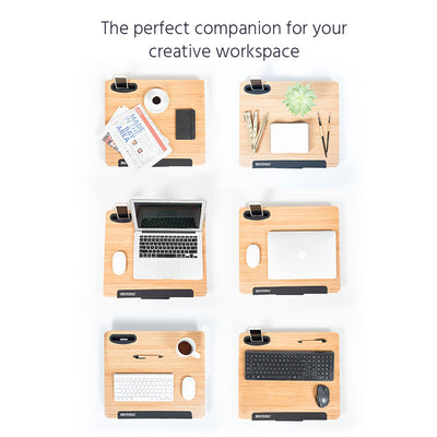 Portable Stand Up Laptop Desk - Light Wood