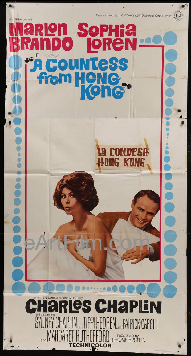 "A Countess From Hong Kong original movie poster Charles Chaplin rare 41""x81"" 1967 _related_bob-balaban, _related_joan-crawford, Charles Chaplin, Comedy, Drama, Margaret Rutherford, Marlon Brando, Romance, Sophia Loren, Sydney Chaplin"
