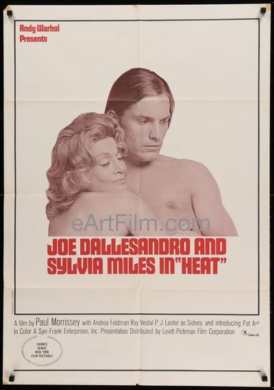 Andy Warhol's Heat 1968 27x41 Original US Movie Poster Joe Dallesandro _related_andy-warhol, _related_iconic-x-rated, Andy Warhol, Cannes, Comedy, Drama, Hugging, Iconic X-Rated, Paul Morrissey, Romance, SWinter, Sylvia Miles, Valentine, Warm