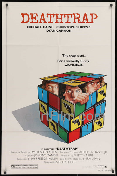 Deathtrap original movie poster Christopher Reeve Michael Caine 1982 27x41 1980's, Broadway, Christopher Reeve, Comedy, Dyan Cannon, Henry Jones, Ira Levin, Irene Worth, Joe Silver, Michael Caine, Murder, Mystery, Sidney Lumet, Style B