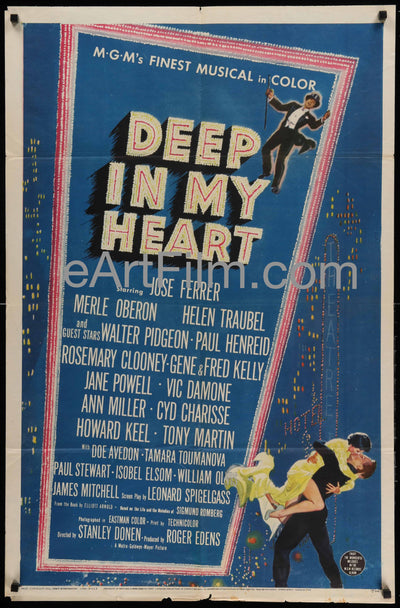 Deep In My Heart big MGM all-star musical 1954 27x41 1950's, Biography, Comedy, Cyd Charisse, Dancing, Fred Kelly, Gene Kelly, Helen Traubel, Merle Oberon, MGM, Musical, Rosemary Clooney, Sigmund Romberg, Stanley Donen, Walter Pidgeon
