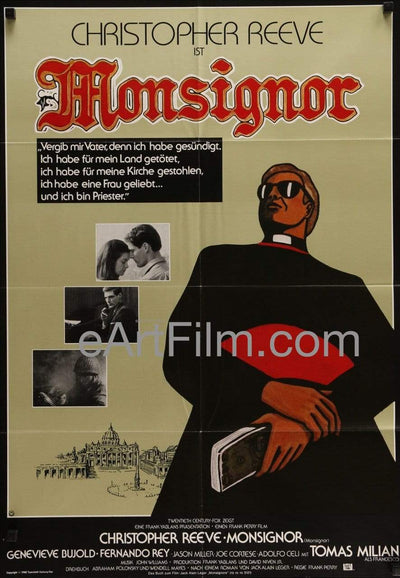 Monsignor 1982 German A1 Movie Poster 23x33 Christopher Reeve Genevieve Bujold Abraham Polonsky, Christopher Reeve, Crime|Drama, Fernando Rey, Frank Yablans, Genevieve Bujold, John Williams, Robert Prosky, Sunglasses, Theoni Aldredge, War