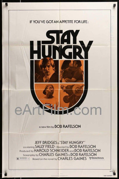 Stay Hungry 1976 27x41 Original U.S Movie Poster _related_bob-rafelson, _related_cult-classics, _related_joanna-cassidy, Arnold Schwarzenegger, Bob Rafelson, Cult Classics, Drama, Jeff Bridges, Joanna Cassidy, Sally Field, Scatman Crothers
