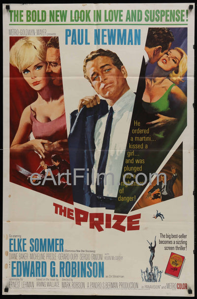 The Prize-Paul Newman-Elke Sommer-Edward G Robinson-1963-27x41 _related_howard-terpning, _related_paul-newman, Crime, Diane Baker, Drama, Edward G Robinson, Elke Sommer, Howard Terpning, Kevin McCarthy, Mark Robson, Mystery, Paul Newman