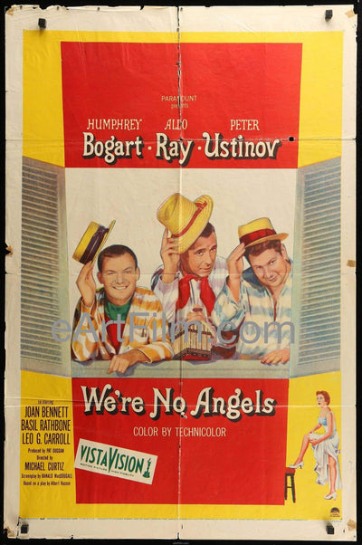 We're No Angels 1955 27x41 Humphrey Bogart-Aldo Ray-Peter Ustinov Comedy 1950's, _related_aldo-ray, _related_humphrey-bogart, Aldo Ray, Comedy, Crime, Humphrey Bogart, Leo G. Carroll, MIchael Curtiz, Peter Ustinov, Ray Bolger, Romance