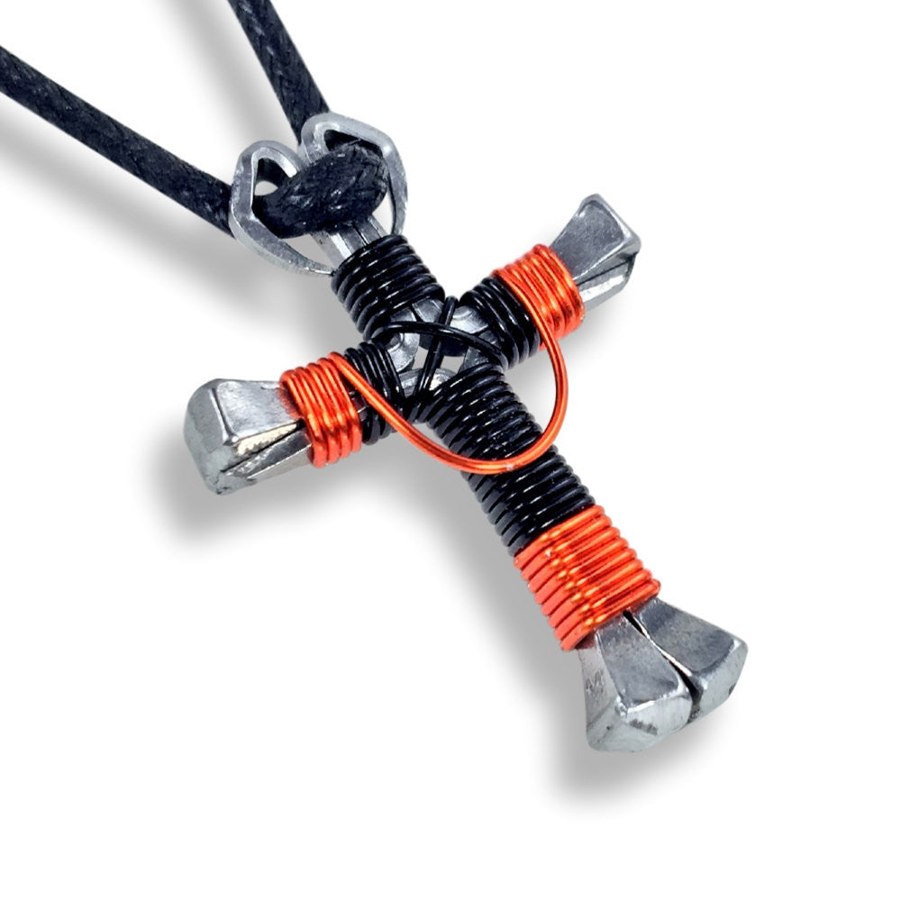 Swag Black & Orange Horseshoe Nail Cross Necklace