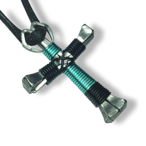 Sport Black & Seafoam Green Horseshoe Nail Cross Necklace