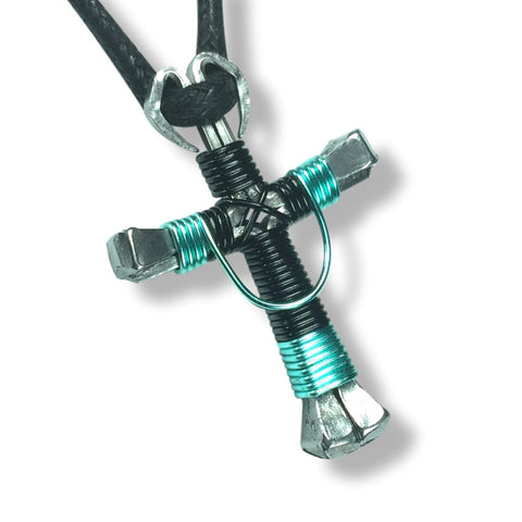 Swag Black & Seafoam Green Horseshoe Nail Cross Necklace