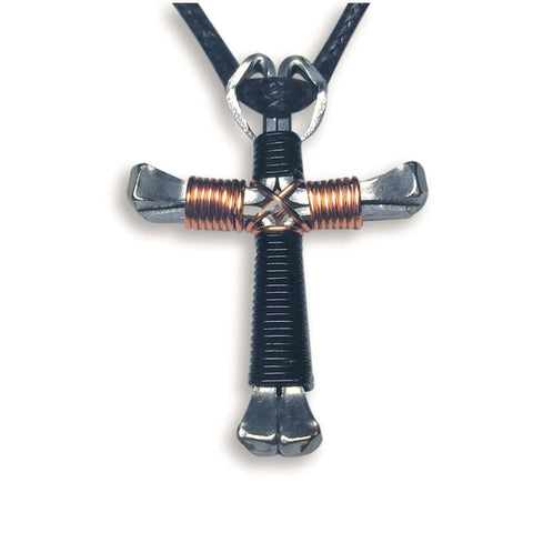 Black & Copper Horseshoe Nail Cross Necklace